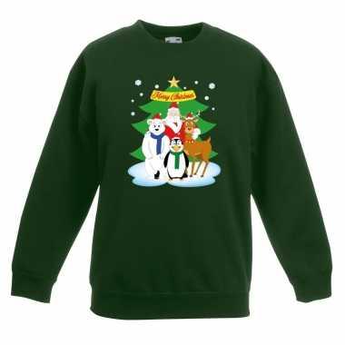 Kerstkersttrui kerst vriendjes groen kinderen