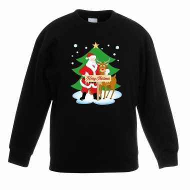 Kerstkersttrui kerstman en rendier zwart kinderen