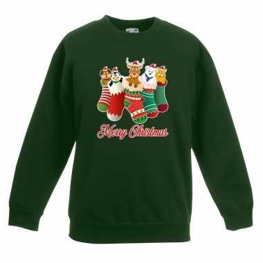 Kerstkersttrui kerstsokken merry christmas groen voor kinderen