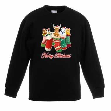Kerstkersttrui kerstsokken merry christmas zwart voor kinderen
