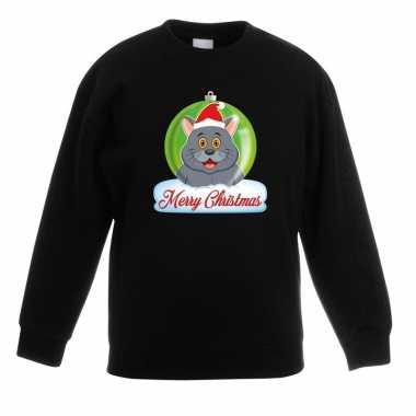 Kerstkersttrui merry christmas grijze kat / poes kerstbal zwart kinde