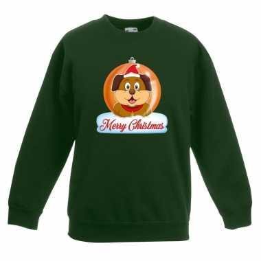Kerstkersttrui merry christmas hond kerstbal groen kinderen