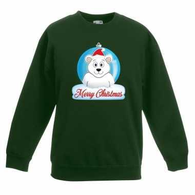 Kerstkersttrui merry christmas ijsbeer kerstbal groen kinderen