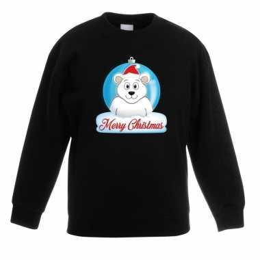 Kerstkersttrui merry christmas ijsbeer kerstbal zwart kinderen