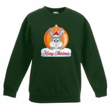 Kerstkersttrui merry christmas konijn kerstbal groen kinderen