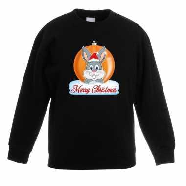 Kerstkersttrui merry christmas konijn kerstbal zwart kinderen