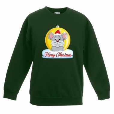 Kerstkersttrui merry christmas muis kerstbal groen kinderen