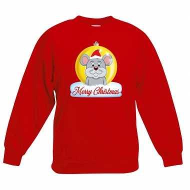 Kerstkersttrui merry christmas muis kerstbal rood kinderen