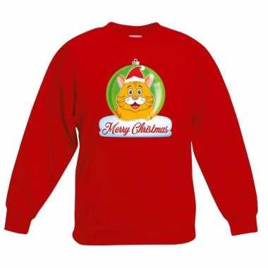 Kerstkersttrui merry christmas oranje kat / poes kerstbal rood kinde