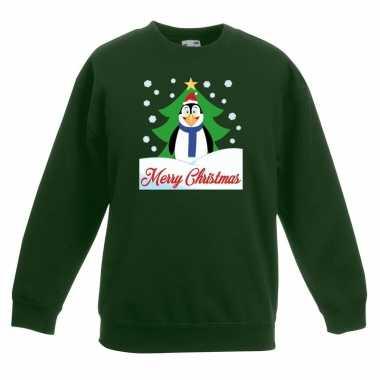 Kerstkersttrui merry christmas pinguin groen kinderen