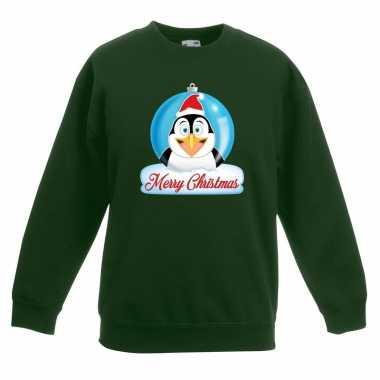 Kerstkersttrui merry christmas pinguin kerstbal groen kinderen