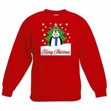 Kerstkersttrui merry christmas pinguin rood kinderen