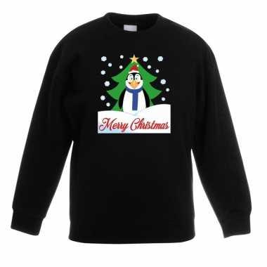 Kerstkersttrui merry christmas pinguin zwart kinderen