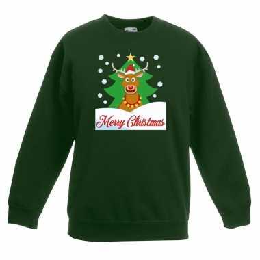 Kerstkersttrui merry christmas rendier groen kinderen