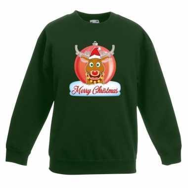 Kerstkersttrui merry christmas rendier kerstbal groen kinderen