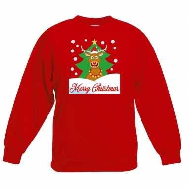 Kerstkersttrui merry christmas rendier rood kinderen