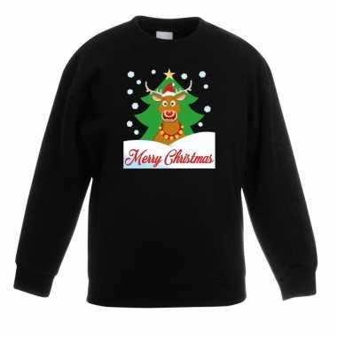Kerstkersttrui merry christmas rendier zwart kinderen