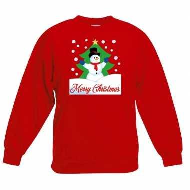 Kerstkersttrui merry christmas sneeuwpop rood kinderen