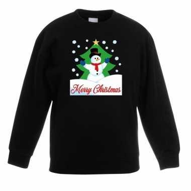 Kerstkersttrui merry christmas sneeuwpop zwart kinderen