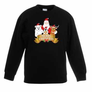 Kerstkersttrui met de kerstman en zijn vriendjes zwart kinderen
