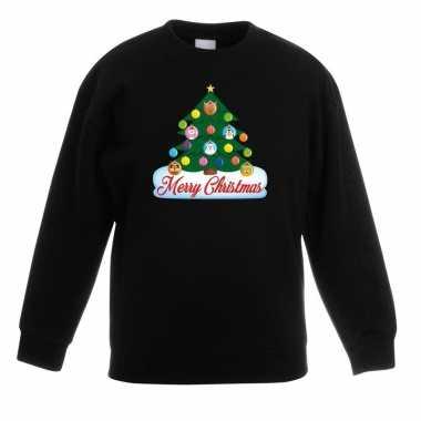 Kerstkersttrui met dieren kerstboom zwart kinderen