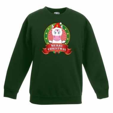 Kerstkersttrui met een eenhoorn groen jongens en meisjes