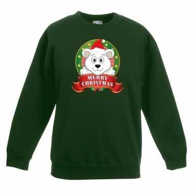 Kerstkersttrui met een ijsbeer groen jongens en meisjes