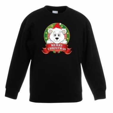 Kerstkersttrui met een ijsbeer zwart jongens en meisjes