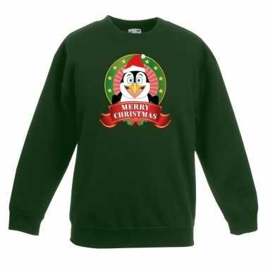 Kerstkersttrui met een pinguin groen jongens en meisjes