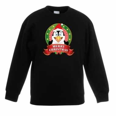 Kerstkersttrui met een pinguin zwart jongens en meisjes