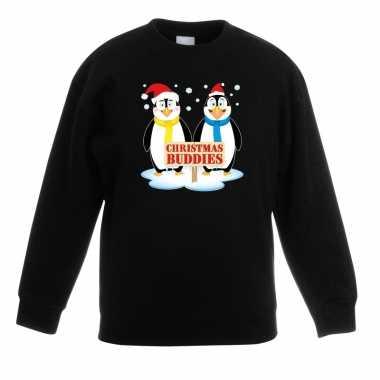 Kerstkersttrui met pinguin vriendjes zwart kinderen
