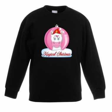 Kerstkersttrui met roze eenhoorn kerstbal zwart voor meisjes