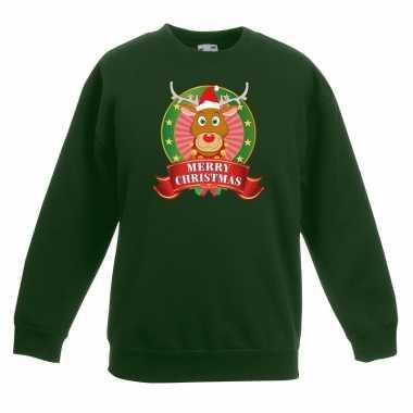 Kerstkersttrui met rudolf het rendier groen jongens en meisjes