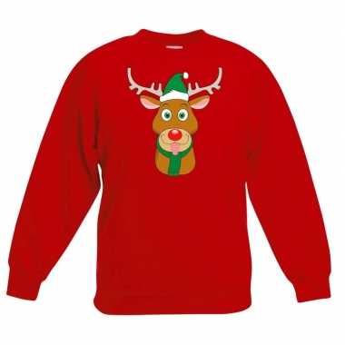 Kerstkersttrui rendier rudolf met groene kerstmuts rood kinderen