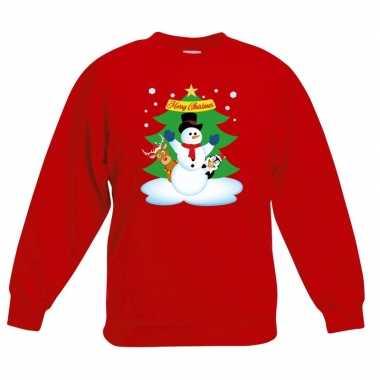 Kerstkersttrui sneeuwpop en vriendjes rood kinderen