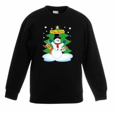 Kerstkersttrui sneeuwpop en vriendjes zwart kinderen