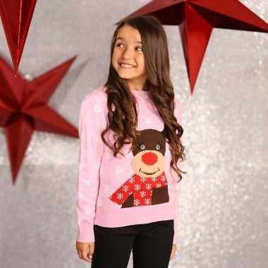 Kersttrui roze met rendier voor meisjes