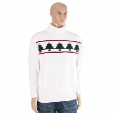 Kersttrui wit met kerstbomen