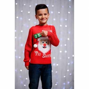Rode kersttrui 3d aftellen voor kids