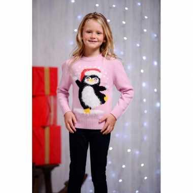 Rode kersttrui met pinguin voor kids