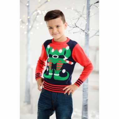 Rood/blauwe kersttrui met kerst elf voor kids