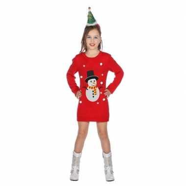 Rood jurkje sneeuwman voor kerst meisjes