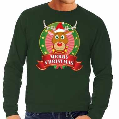 Rudolf kerstkersttrui groen merry christmas voor heren