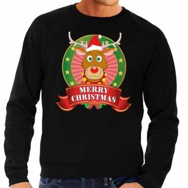 Rudolf kerstkersttrui zwart merry christmas voor heren