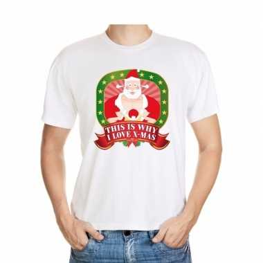 Shirt wit this is why i love x mas player kerstman voor mannen