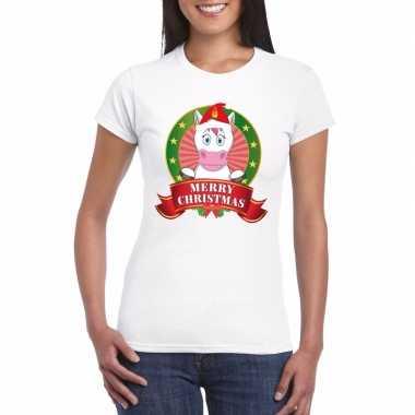 Witte eenhoorn kerst t shirt voor dames merry christmas