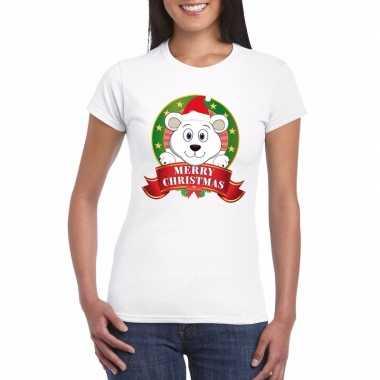 Witte ijsbeer kerst t shirt voor dames merry christmas