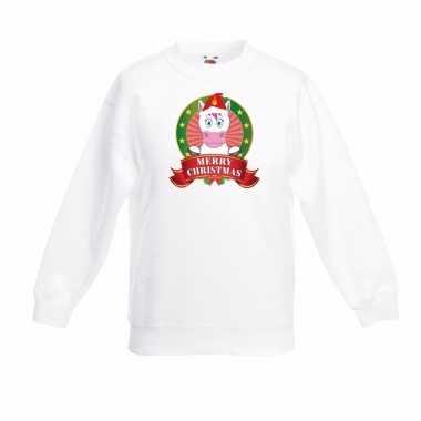Witte kerst sweater voor jongens met eenhoorn print