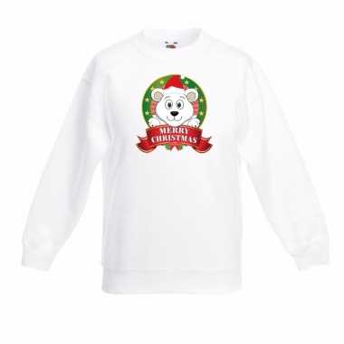 Witte kerst sweater voor jongens met ijsbeer print