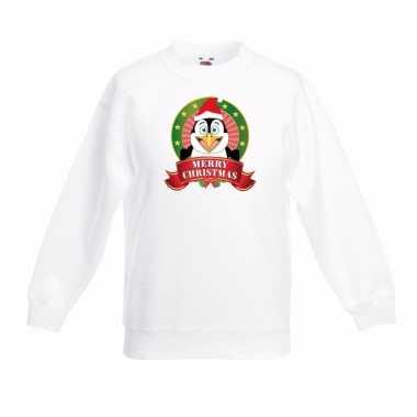 Witte kerst sweater voor jongens met pinguin print